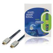 High Speed HDMI kabel met Ethernet Plat HDMI-Connector - HDMI-Connector 20.0 m Blauw