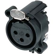 XLR Panel-mount female receptacle 3 A Horizontaal / PCB Mounting / Separate Ground Contact Zwart