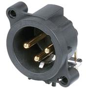 XLR Panel-mount male receptacle 3 A Horizontaal / PCB Mounting Zwart