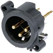 XLR Panel-mount male receptacle 3 A Verticaal / PCB Mounting Zwart