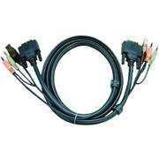 KVM Kabel DVI-D 18+1-Pins Male / USB A Male / 2x 3.5 mm Male - DVI-D 18+1-Pins Male / USB A Male / 2x 3.5 mm Male 5.0 m