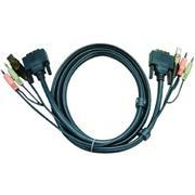KVM Kabel DVI-D 24+1-Pins Male / USB A Male / 2x 3.5 mm Male - DVI-D 24+1-Pins Male / USB A Male / 2x 3.5 mm Male 5.0 m