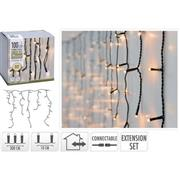 CONNECTABLE CHRISTMAS ICICLE LIGHTS | EXTENSION SET | 100 LED | WARM WHITE | 230 V