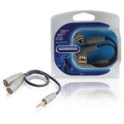 Stereo Audiokabel 3.5 mm Male - 2x 3.5 mm Female 0.20 m Blauw