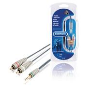 Stereo Audiokabel 3.5 mm Male - 2x RCA Male 5.00 m Blauw